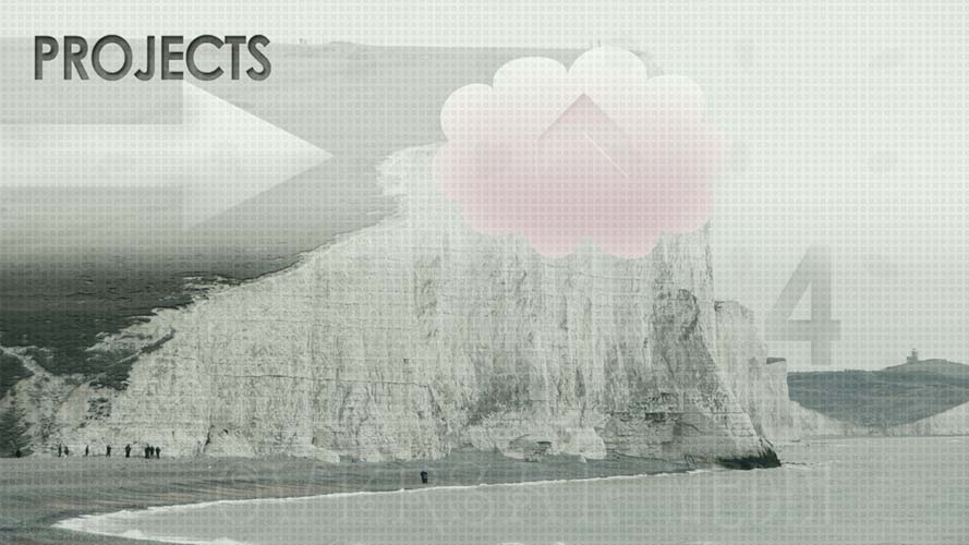 Oversal Media cliff, pink cloud and sea projects